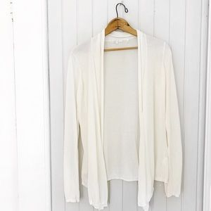 Vince Off White Open Style Light Cotton Cardigan